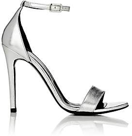 Barneys New York Women's Metallic Leather Ankle-Strap Sandals - Silver