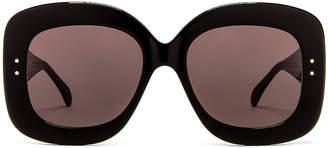 Alaia Acetate Soft Square Sunglasses in Shiny Black   FWRD