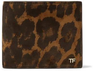 Tom Ford Leopard-Print Nubuck Billfold Wallet - Men - Brown