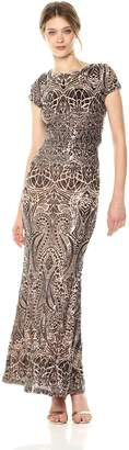 Betsy & Adam Women's Cap Sleeve Long Sequin Gown