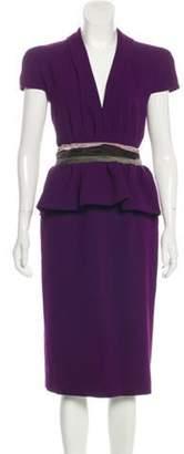 Bottega Veneta Short Sleeve Midi Dress w/ Tags Violet Short Sleeve Midi Dress w/ Tags