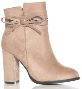 Quiz Taupe Faux Suede Bow Detail Ankle Boots