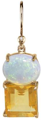 Irene Neuwirth One-Of-A-Kind Opal and Fire Opal Square Single Earring