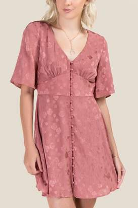 francesca's Aimee Floral Button Front Dress - Rose
