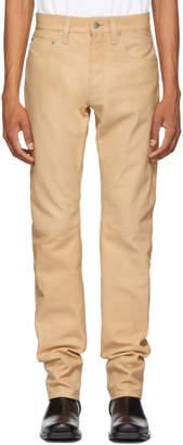 Helmut Lang Beige Leather Masc Hi Straight Pants