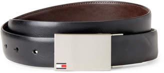 Tommy Hilfiger Black & Brown Flag Plaque Reversible Belt