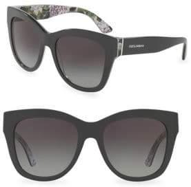 Dolce & Gabbana 55MM Square Floral Acetate Sunglasses