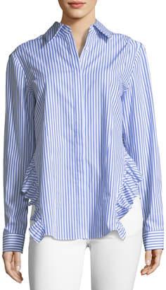 Petersyn Gretchen Striped Asymmetric Poplin Shirt