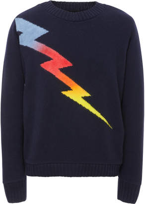 The Elder Statesman M'O Exclusive Lightning Intarsia Cashmere Sweater