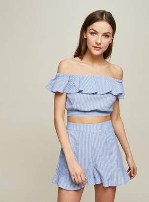 Miss Selfridge Petite blue striped shorts