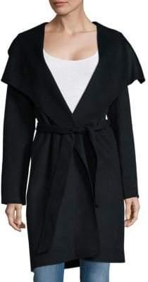 T Tahari Solid Wool-Blend Wrap Coat