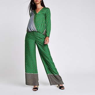 River Island Green tile print wide leg pants