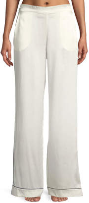 Asceno Contrast-Piping Wide-Leg Silk Pajama Pants