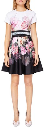Ted Baker Valerey Painted Posie Border Skater Dress $279 thestylecure.com