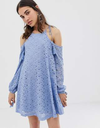 J.o.a. Swing Dress With Cold Shoulders And Tassel Ties In Lace
