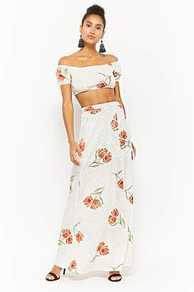 Forever 21 Floral Pin Dot Crop Top & Maxi Skirt Set