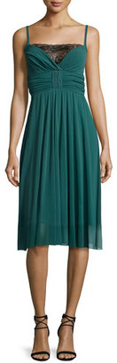 Fuzzi Spaghetti-Strap Pleated Tulle Dress w/ Lace Inset, Clover $445 thestylecure.com
