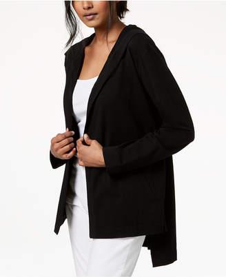 Eileen Fisher Organic Cotton High-Low Hooded Cardigan, Regular & Petites