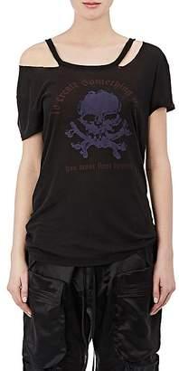Taverniti So Ben Unravel Project Women's Skull Distressed Silk T-Shirt