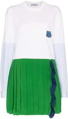 Prada contrasting pleated skirt dress
