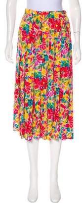 Albert Nipon Silk Floral Print Skirt
