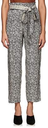 Masscob Women's Floral Silk Belted Pants