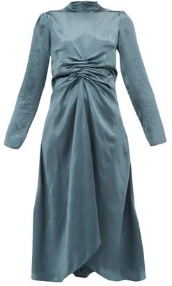 Sies Marjan Nara Ruched Satin Dress - Womens - Dark Grey