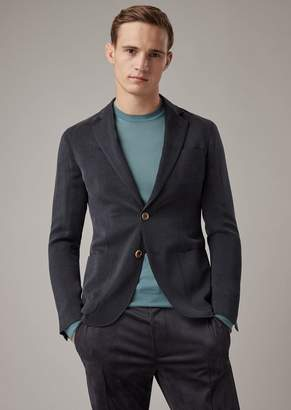 Giorgio Armani Regular-Fit Upton Range Deconstructed Jacket In Fine-Striped Washed Cupro Ottoman