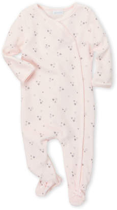 Absorba Newborn Girls) Pink Heart Print Velour Footie