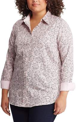 fea287318cd Chaps Plus Size No Iron Printed Sateen Shirt