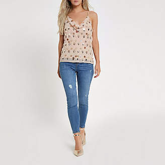 River Island Womens Petite Pink sequin and bead embellished cami