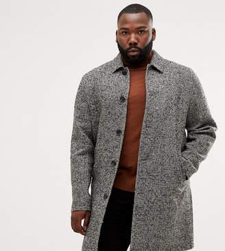Asos DESIGN Plus wool mix overcoat in black texture