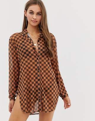 Motel checkerboard mesh beach shirt in tan