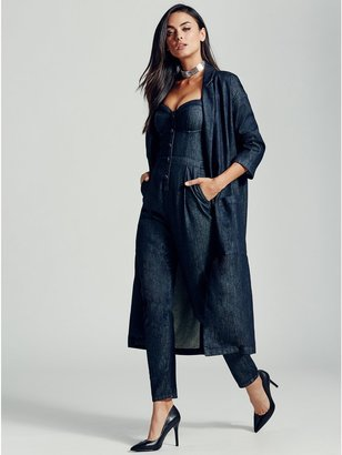 GUESS Longline Denim Duster $158 thestylecure.com