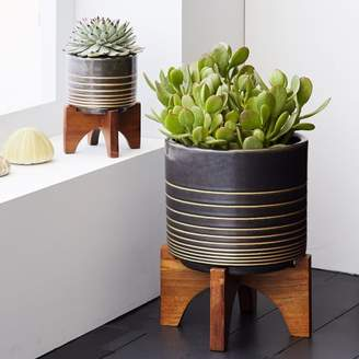 west elm Mid-Century Turned Leg Tabletop Planters - Black/Gold