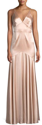 Jill Stuart Satin V-Neck Sleeveless Corset Gown