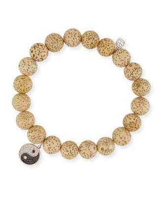 Sydney Evan Lotus Seed Beaded Bracelet w/ 14k Diamond Yin Yang Charm