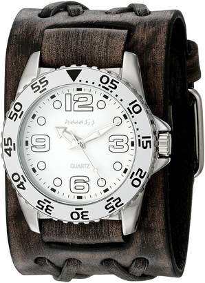 Nemesis Men's 097VDXB-W White Groovy Series Faded Black Double X Leather Cuff Band Analog Display Japanese Quartz Black Watch