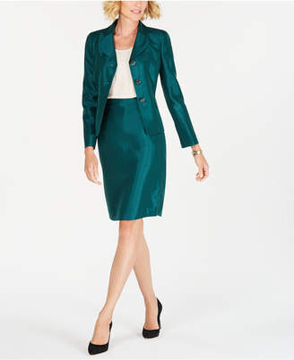 Le Suit Petite Three-Button Shiny Skirt Suit