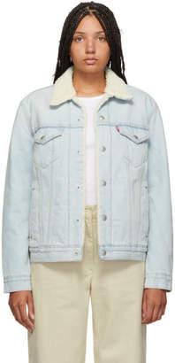 Levi's Levis Blue Denim Sherpa Trucker Jacket