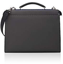 Fendi Men's Peekaboo Selleria Leather Briefcase-Dark Gray
