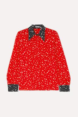 Miu Miu Printed Silk Crepe De Chine Shirt - Red