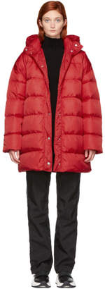 MSGM Red Oversized Down Jacket