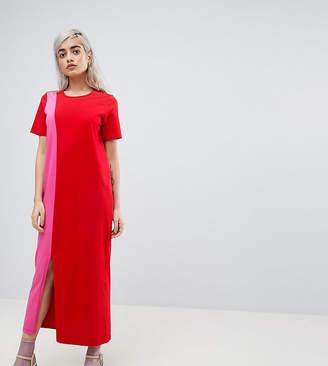 Asos Ultimate T-Shirt Maxi Dress In Color Block