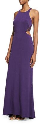 La Femme Sleeveless Crewneck Cutout Halter Gown, Plum $298 thestylecure.com