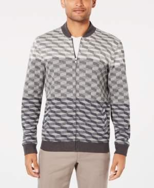 Alfani Men's Ombre Geometric Jacquard Knit Bomber Jacket, Created for Macy's