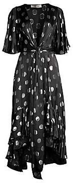 Diane von Furstenberg Women's Sareth Tie-Front Hi-Low Polka Dot Dress - Size 0