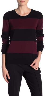 Catherine Malandrino Long Sleeve Crew Neck Striped Pullover