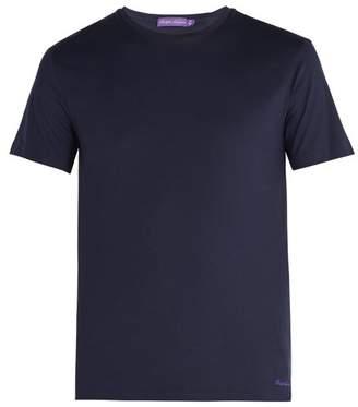 Ralph Lauren Purple Label - Logo Embroidered Short Sleeved Cotton T Shirt - Mens - Navy