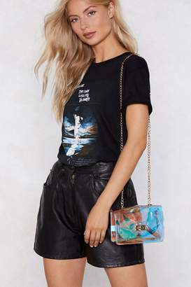 Nasty Gal Holographic PU Gold Chain Cross Bodybag